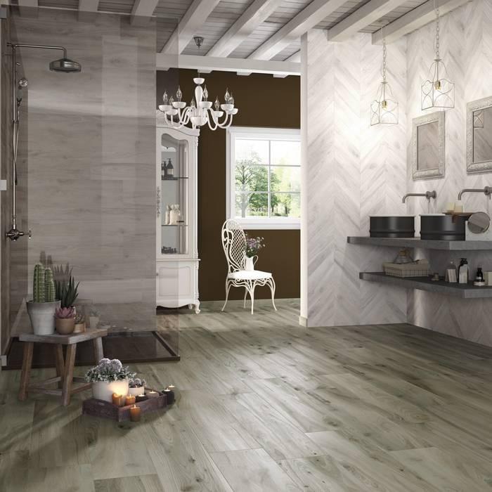 Gres porcellanato effetto legno Woodie verde: Pavimento in stile  di WEBTILES CERAMICHE