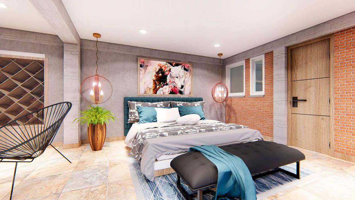 Refugio Balcazar Habitaciones de estilo minimalista de Conceptual Studio ARQUITECTUR Minimalista Ladrillos