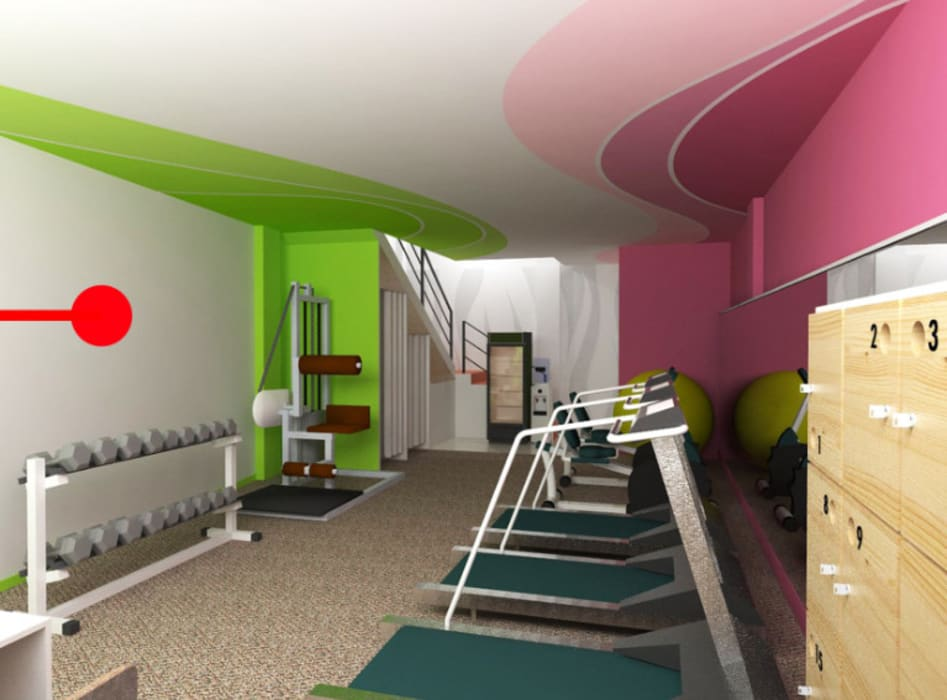 Design Interior S Fitness Studio Center:  Ruang Fitness by CV Rancangbangun Arsitama Buana