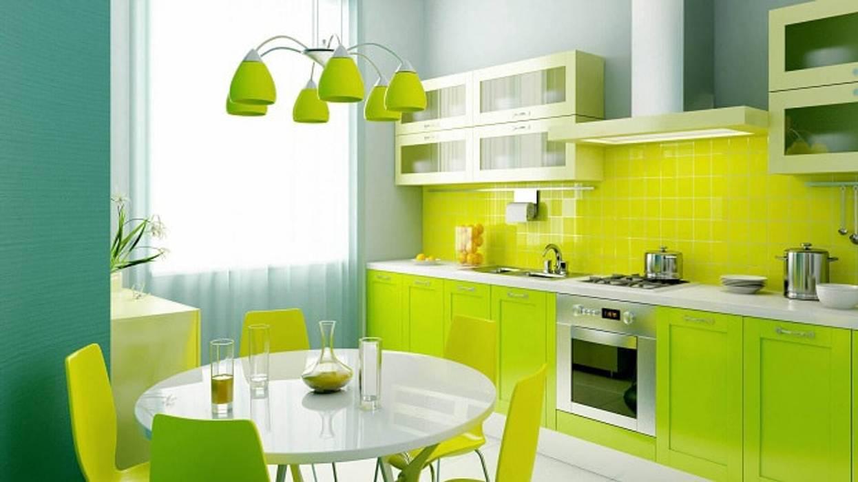 Sử dụng đồ nội thất màu xanh trên nền phòng trắng:  Nhà bếp by Thương hiệu Nội Thất Hoàn Mỹ