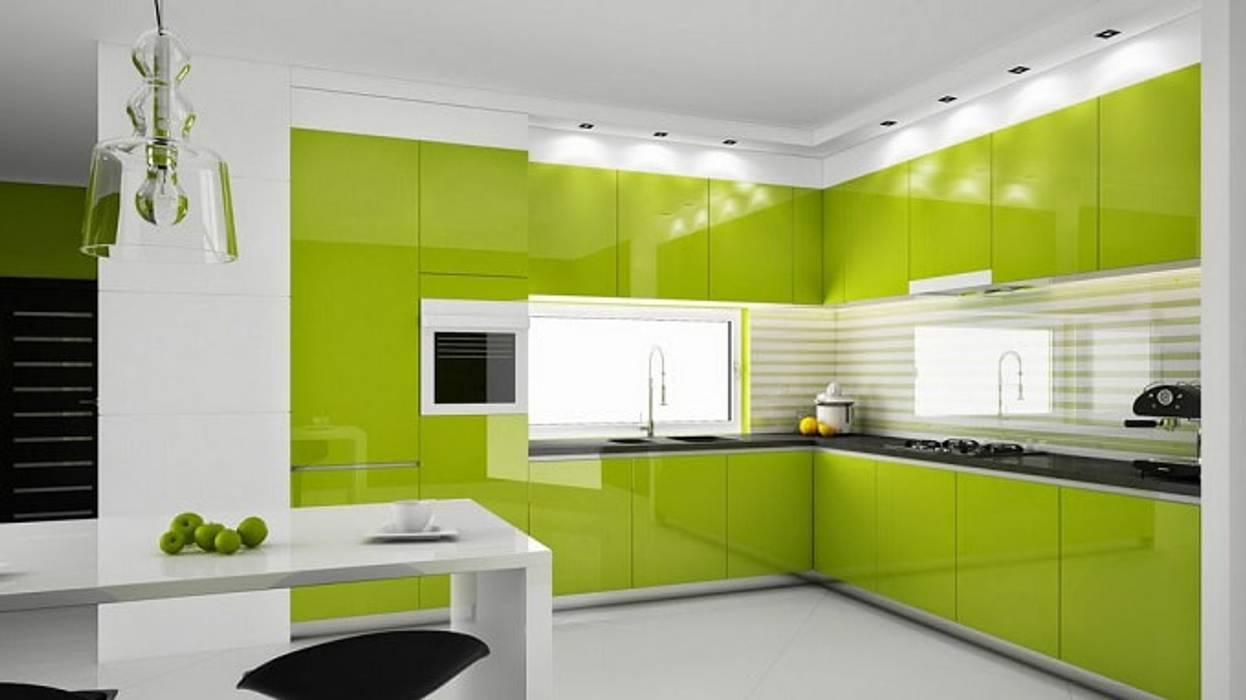 Tủ bếp hiện đại màu xanh đẹp Nhà bếp phong cách hiện đại bởi Thương hiệu Nội Thất Hoàn Mỹ Hiện đại
