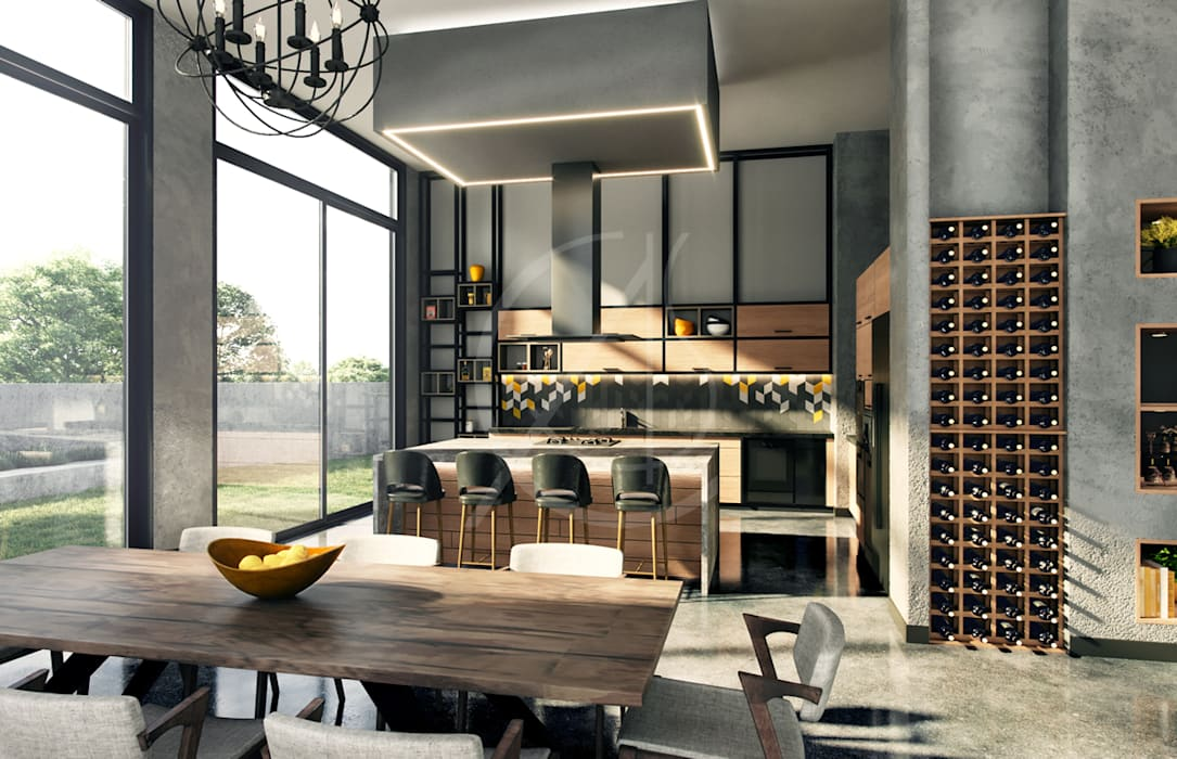Industrial House Design:  Built-in kitchens by Comelite Architecture, Structure and Interior Design