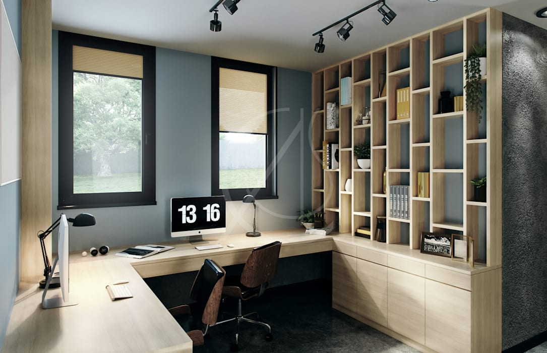 Industrial House Design:  Study/office by Comelite Architecture, Structure and Interior Design