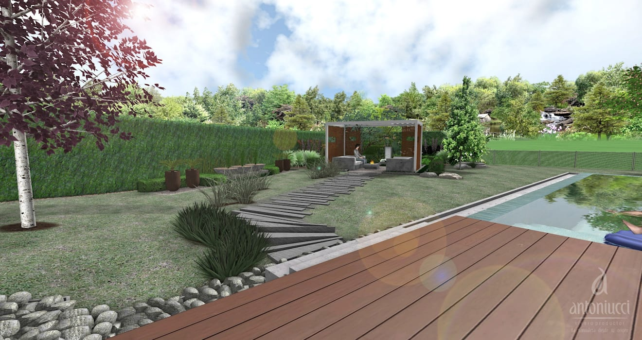 Jardín Moderno: Jardines de estilo  por Vivero Antoniucci S.A.