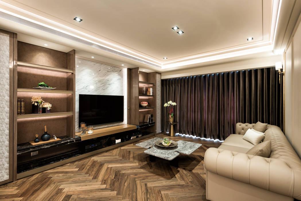 住空間-光復南路 现代客厅設計點子、靈感 & 圖片 根據 青易國際設計 現代風