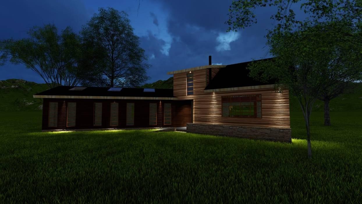 Render fachada nocturna Constructora Rukalihuen Parcelas de agrado Madera Acabado en madera