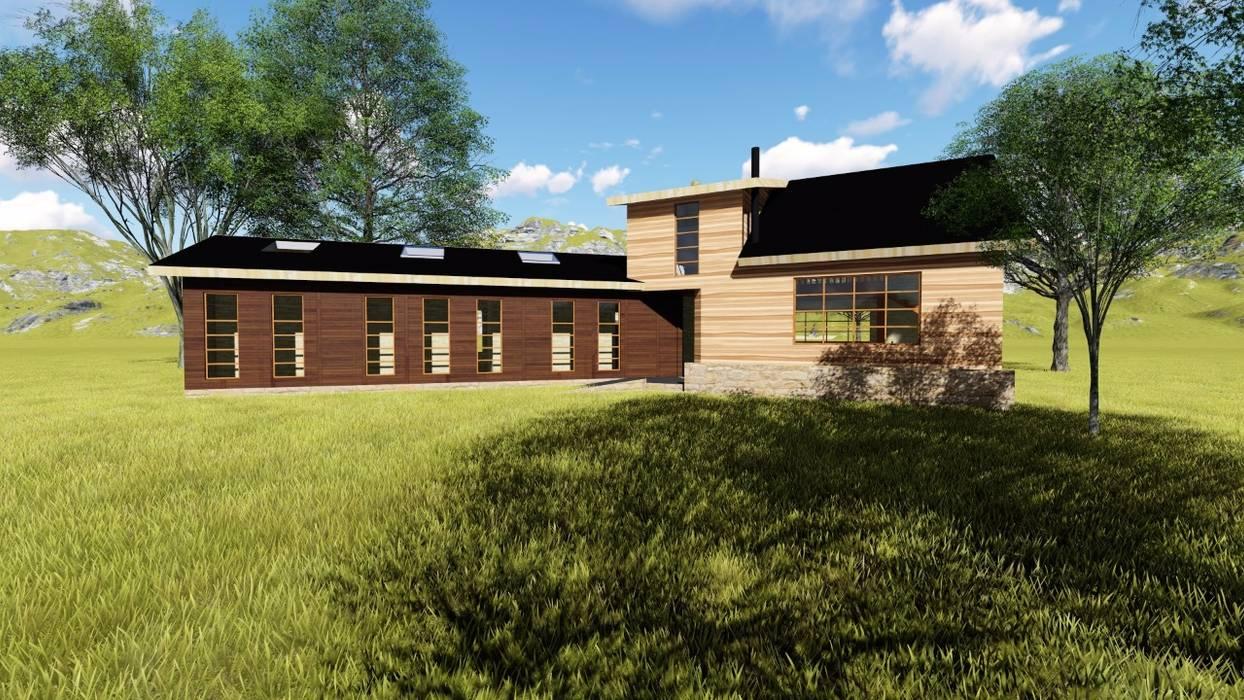 Render fachada luz día Constructora Rukalihuen Parcelas de agrado Madera Acabado en madera