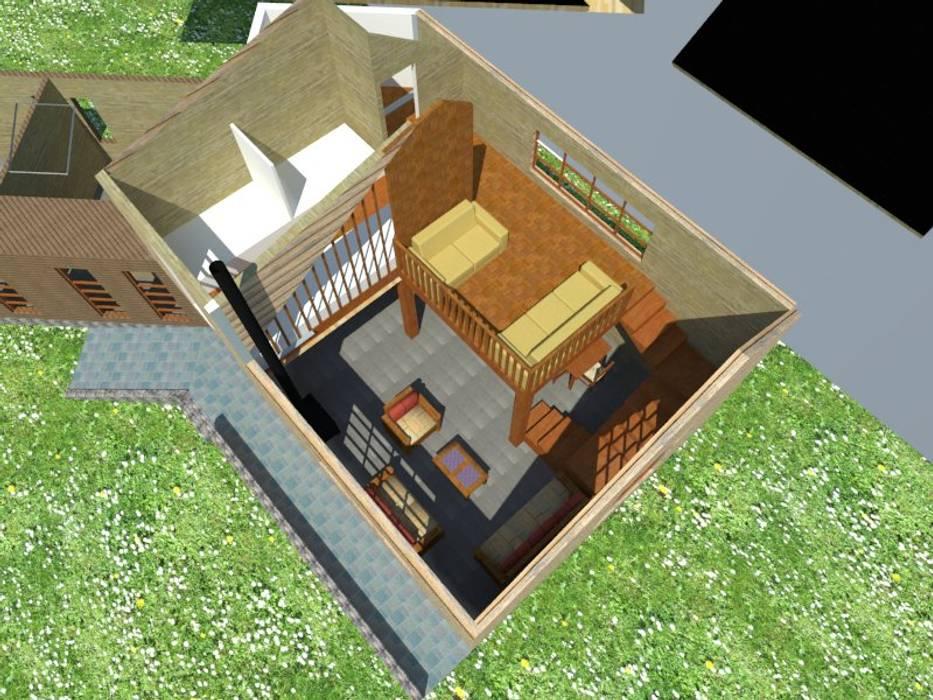 Render vista aérea Constructora Rukalihuen Parcelas de agrado Madera Acabado en madera