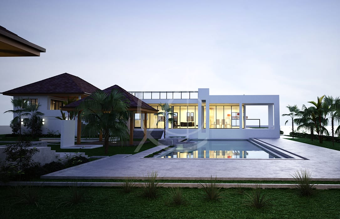 Wagon Modern Detached House Design:  Infinity pool by Comelite Architecture, Structure and Interior Design , Modern
