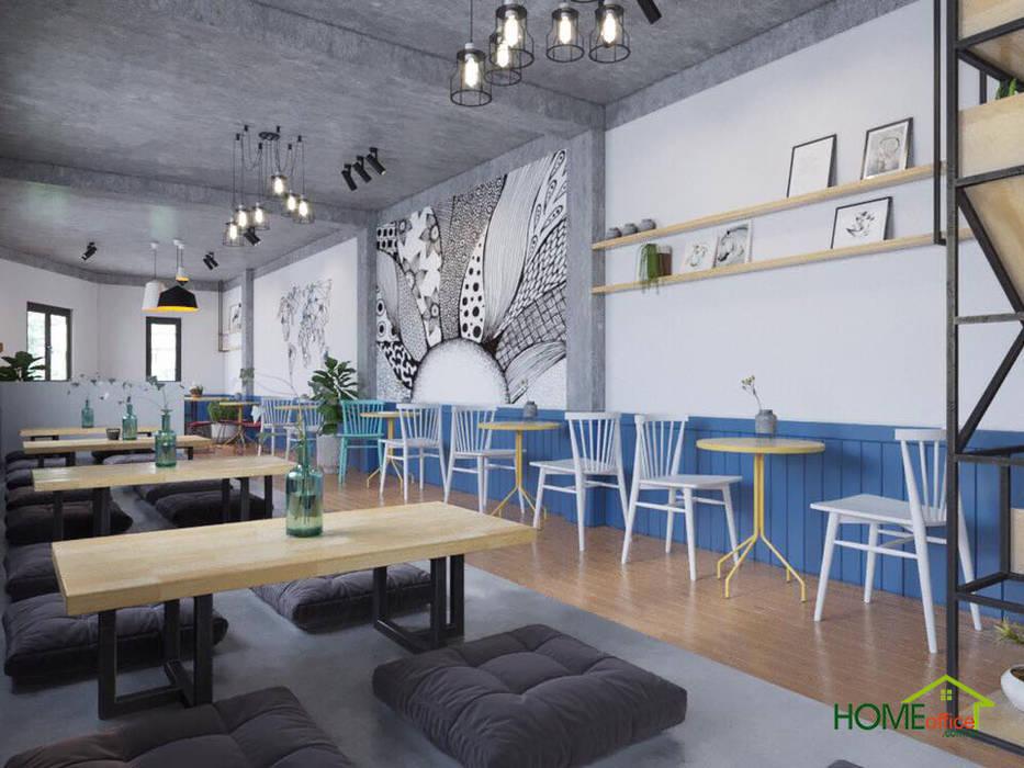Không gian quán trà sữa có phần ngồi bệt và phần ngồi cao:  Sàn by Home Office,
