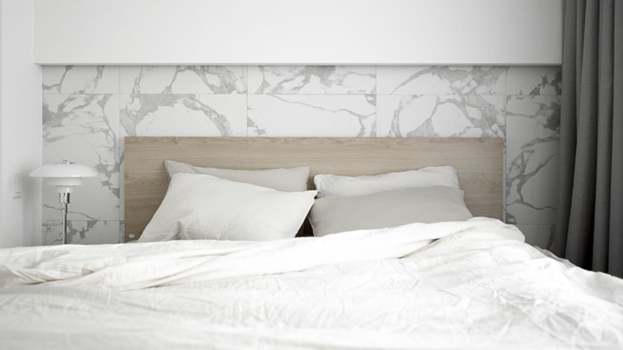 화이트와 우드로 아늑한 갤러리처럼 꾸민 30평대 아파트 인테리어 미니멀리스트 침실 by husk design 허스크디자인 미니멀