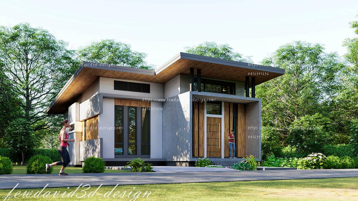 บ้านพักอาศัยชั้นเดียว อ.เมือง จ.ลพบุรี คุณดารารัตน์ฯ:  บ้านเดี่ยว โดย fewdavid3d-design, โมเดิร์น