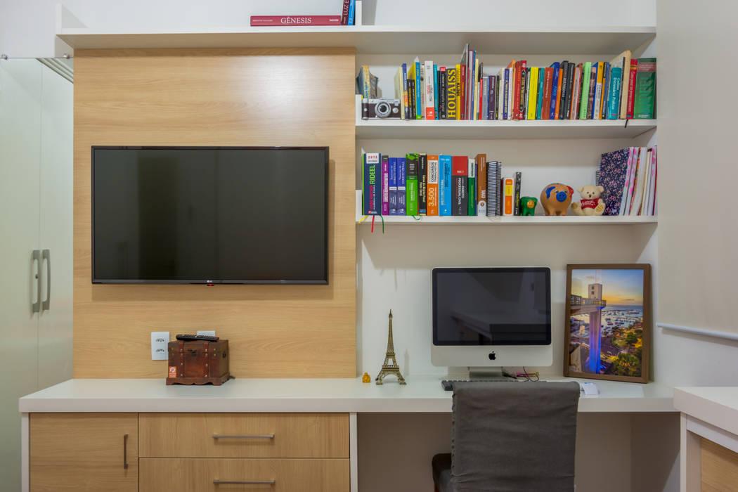 Imagem do conjunto do home office Joana Rezende Arquitetura e Arte Escritórios modernos
