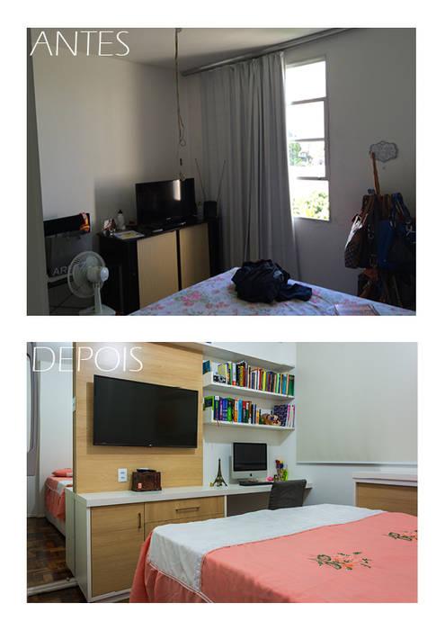 Antes e depois do quarto por Joana Rezende Arquitetura e Arte Moderno