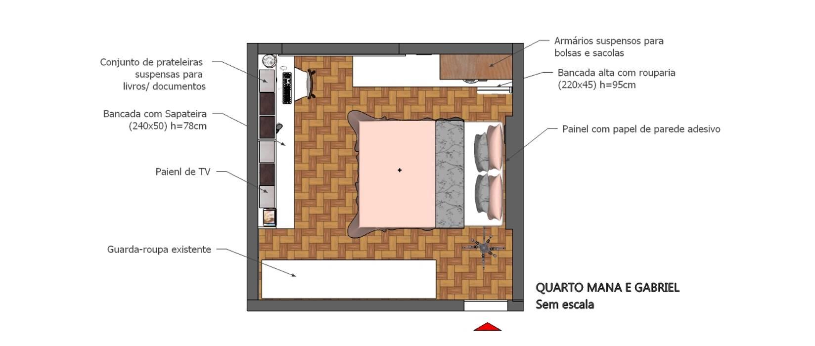 Planta baixa de layout do quarto Joana Rezende Arquitetura e Arte