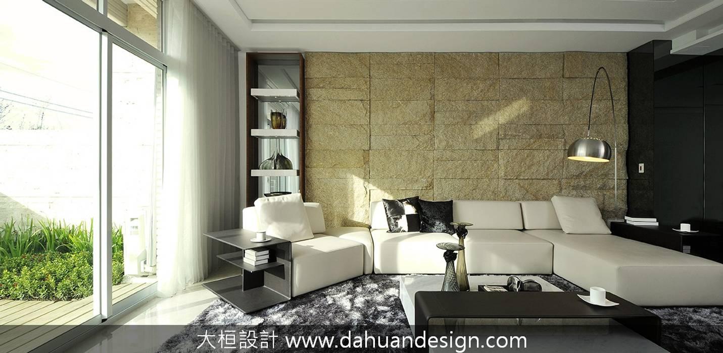 大桓設計-室內設計-極上之墅 现代客厅設計點子、靈感 & 圖片 根據 大桓設計顧問有限公司 現代風 石板