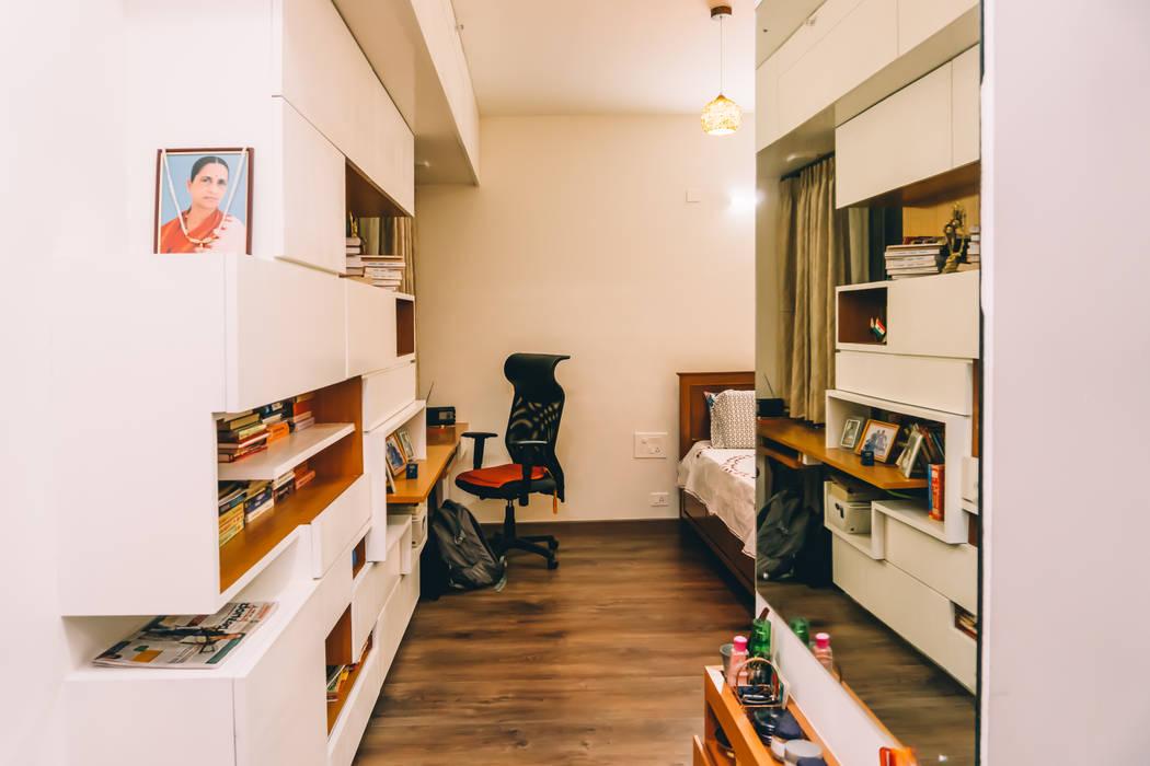 Bedroom Cum Study Unit With Wardrobes Bookshelvesorigami Spaces