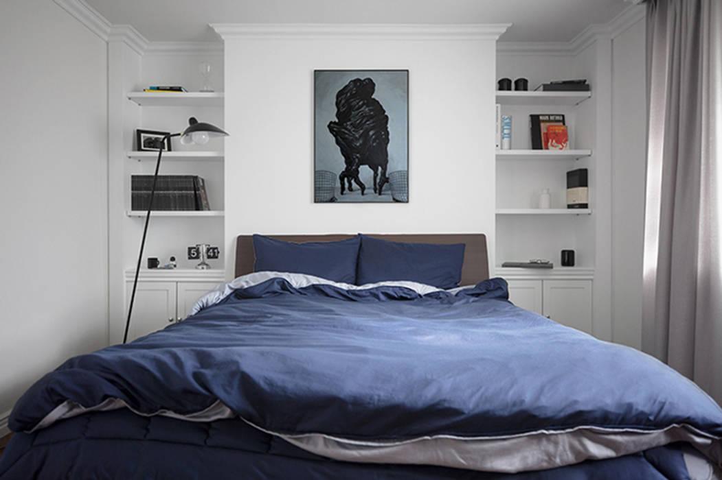 모던 클래식한 무드의 20평대 빌라 인테리어: husk design 허스크디자인의  침실,