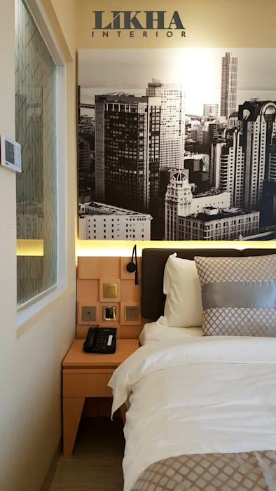 Detail Tempat Tidur dan Side Table Hotel Modern Oleh Likha Interior Modern Kayu Lapis