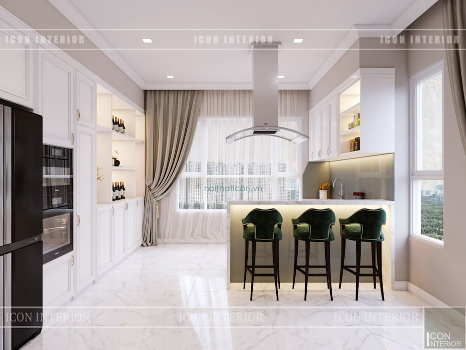 Thiết kế căn hộ cao cấp sang trọng mang phong cách Tân Cổ Điển:  Nhà bếp by ICON INTERIOR