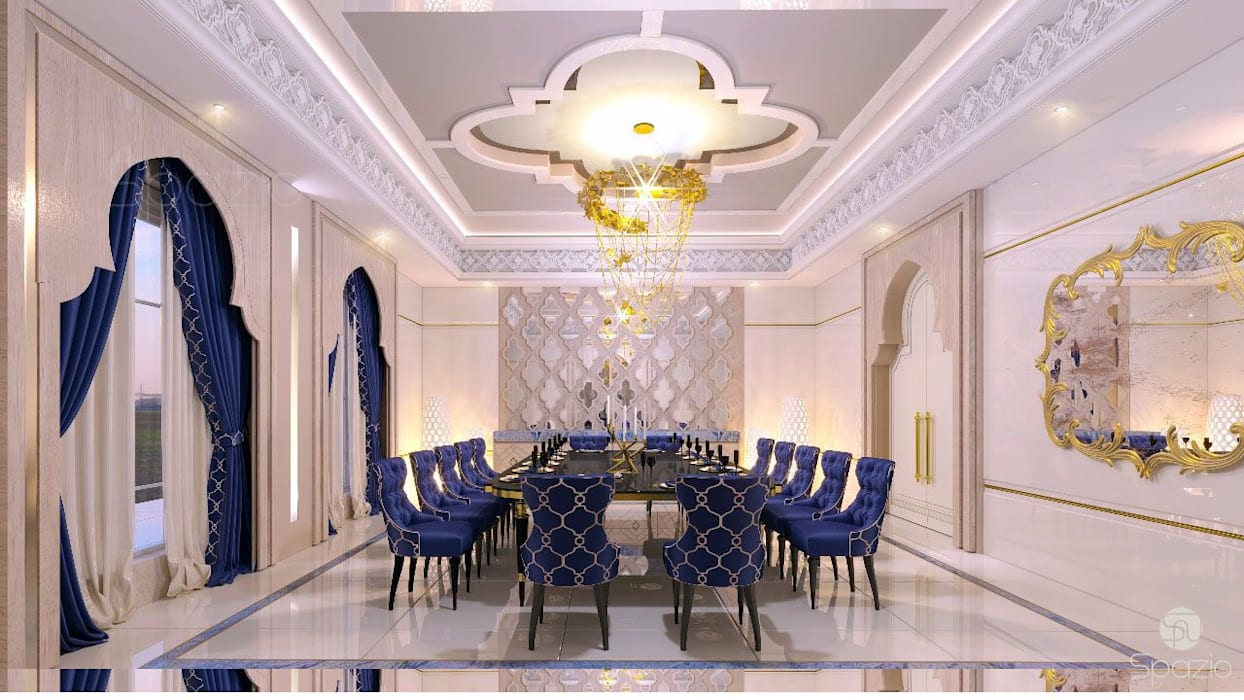 Interior desing of a formal dining room in Dubai house Mediterranean style dining room by Spazio Interior Decoration LLC Mediterranean