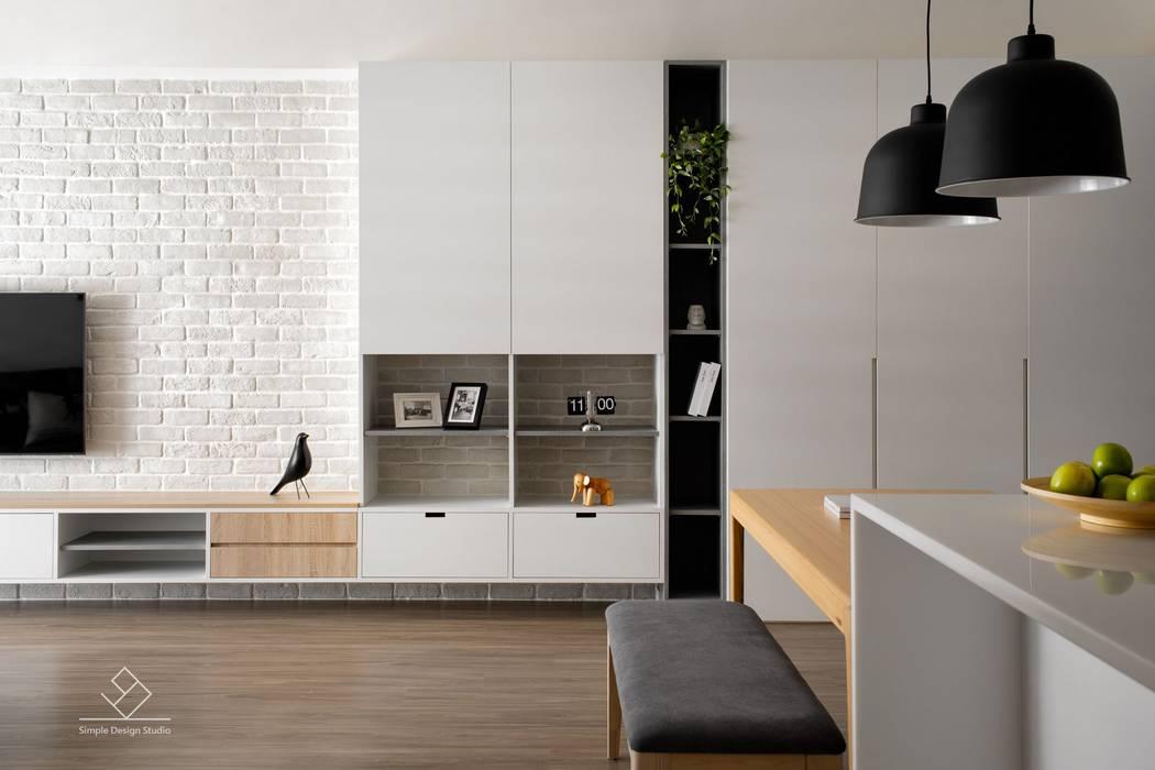 客廳端景牆:  客廳 by 極簡室內設計 Simple Design Studio