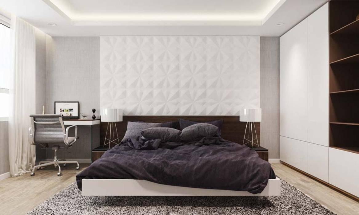 thiết kế Căn hộ sang trọng, thiết kế nội thất hiện đại, tinh tế.:  Phòng ngủ by CÔNG TY THIẾT KẾ NHÀ ĐẸP SANG TRỌNG