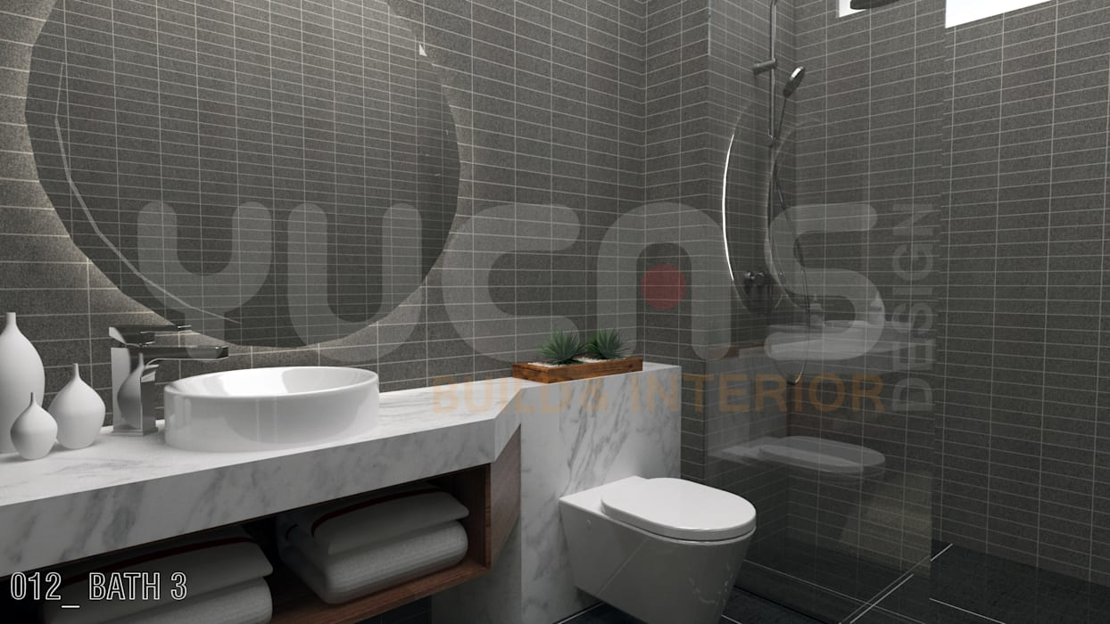 bungalow at segambut:  Bathroom by Yucas Design & Build Sdn. Bhd.