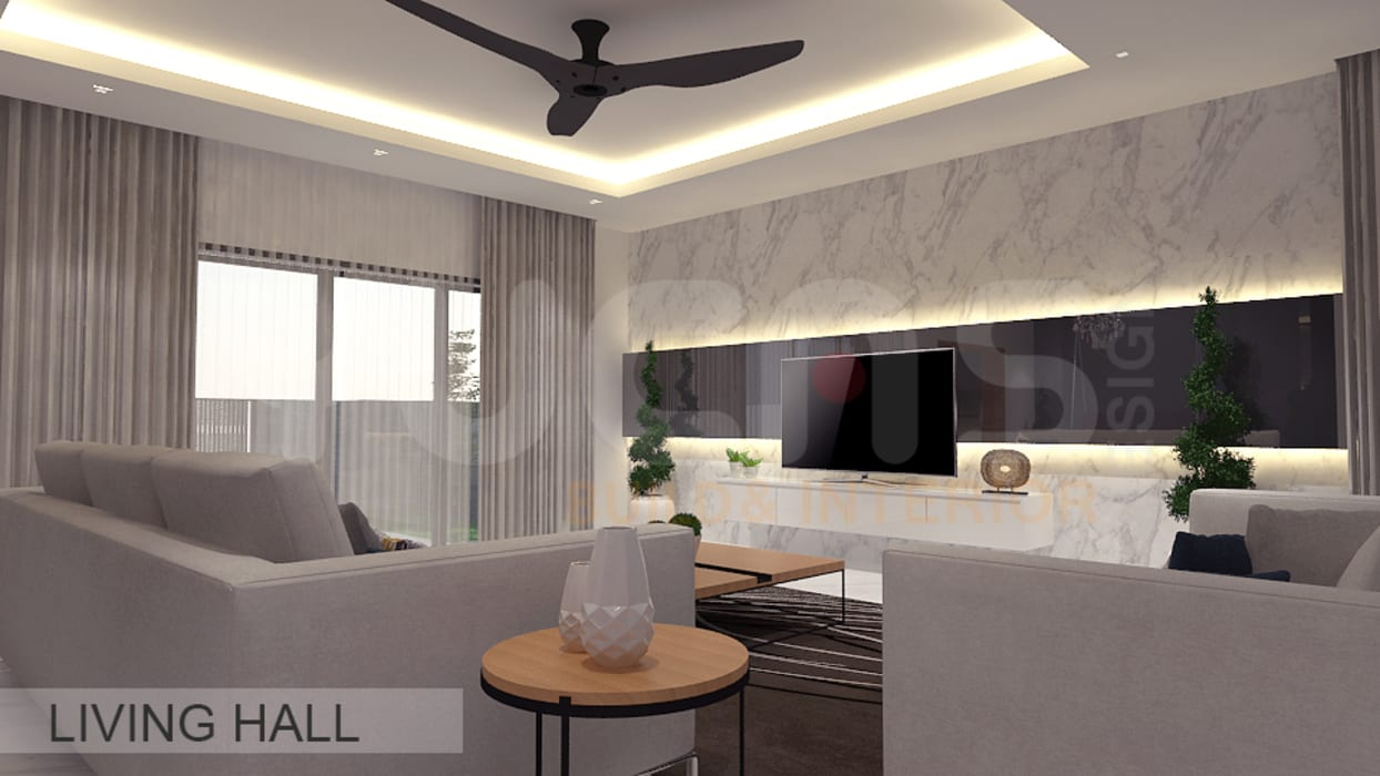 Semi-D at Jln Ipoh:  Living room by Yucas Design & Build Sdn. Bhd.