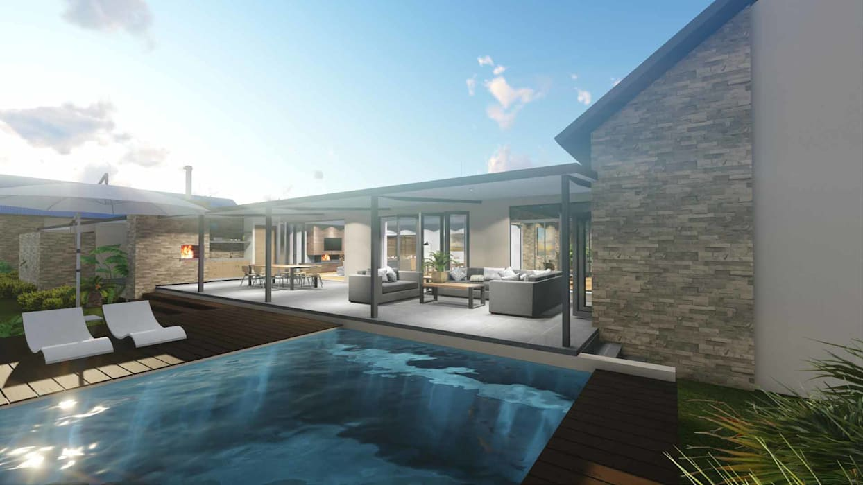 Mooikloof House:  Garden Pool by du Toit Arch, Modern Stone