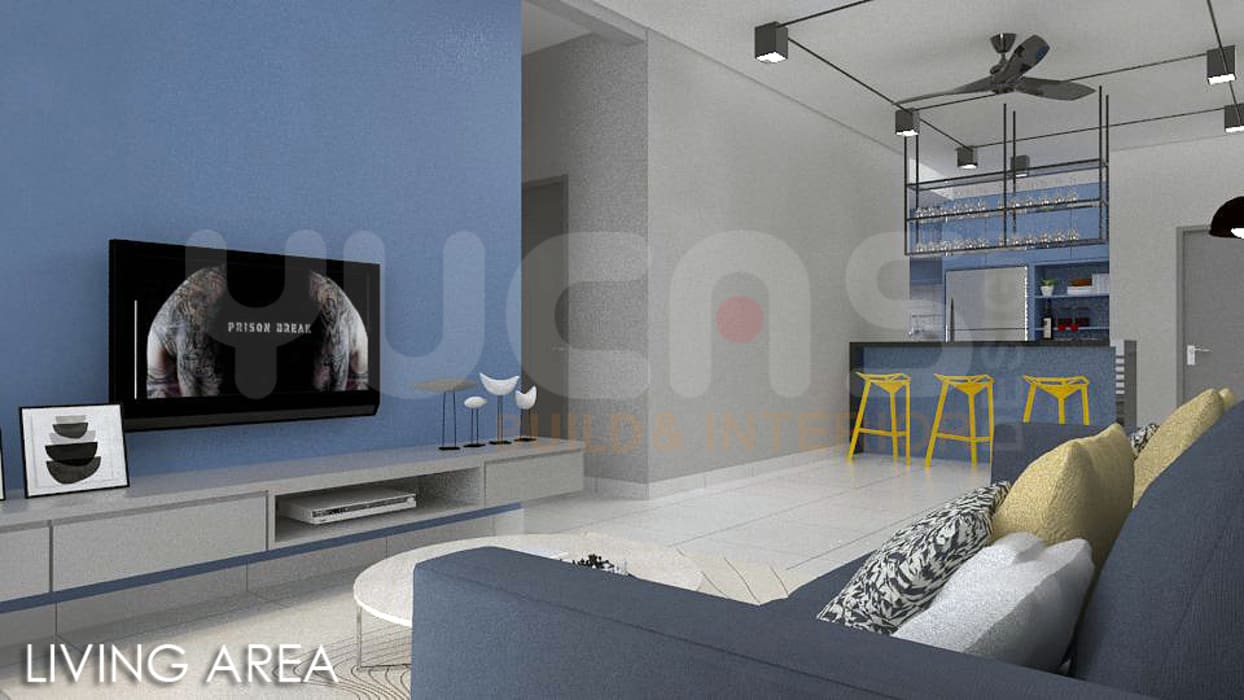 skypark Condo at Saujana Putra:  Living room by Yucas Design & Build Sdn. Bhd.