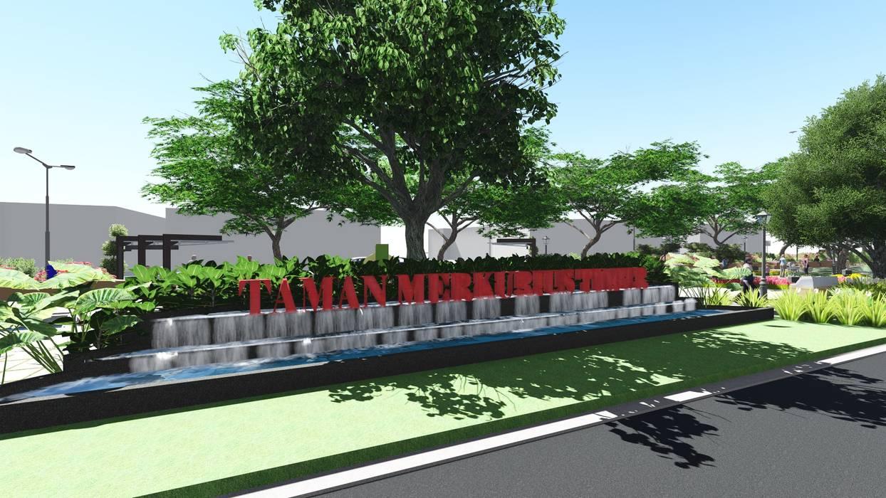 DESAIN TAMAN LINGKUNGAN PERUM VILLA CINERE MAS Oleh 1mm studio   Landscape Design Modern