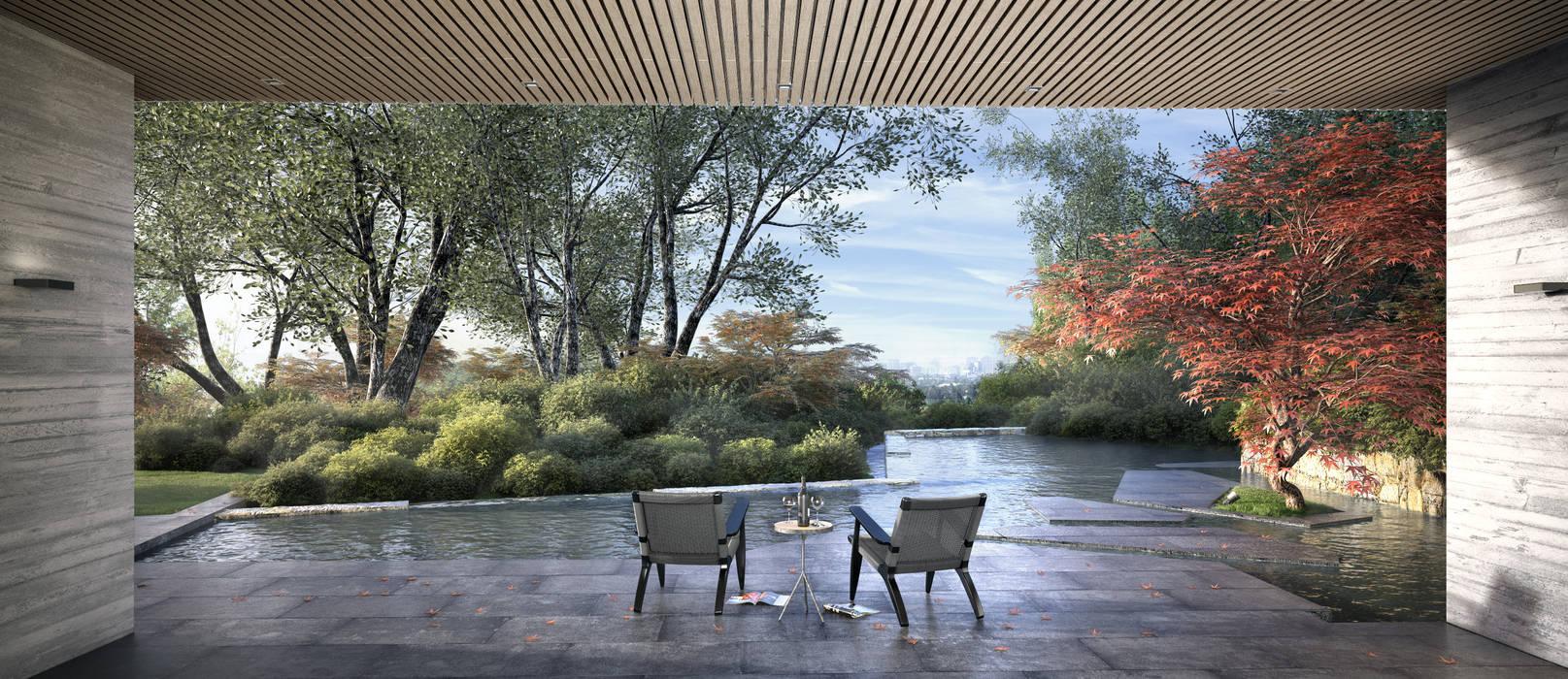 Casa Davis, Juan Grimm landscape artist Jardines de estilo asiático de Light Syndrome Asiático