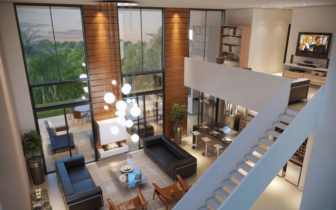 Vista Interna do Loft : Salas de estar  por Paulo Stocco Arquiteto,Moderno