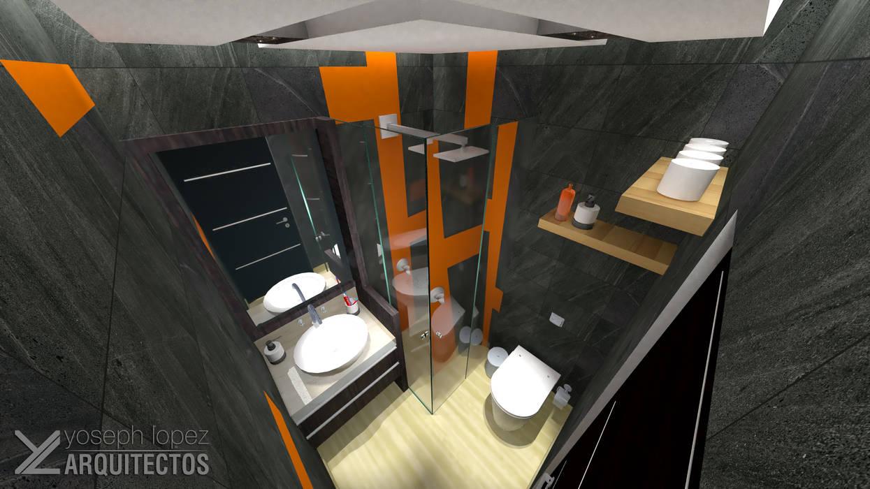 Diseño de Baño sec. Res. La Arboleda: Baños de estilo  por arqyosephlopez, Moderno