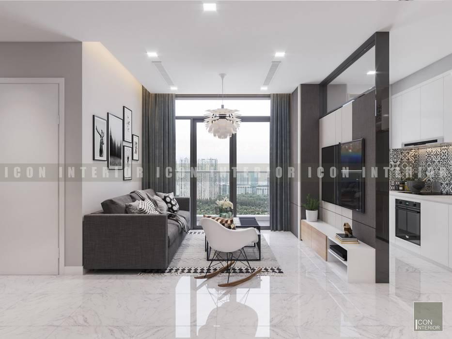Vẻ đẹp thanh lịch đến từ sự đơn giản - Phong cách thiết kế hiện đại:  Phòng khách by ICON INTERIOR, Hiện đại