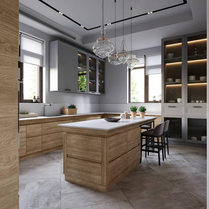 Дизайн проект квартиры 180 кв.м. Москва, Ленинский проспект 85: Встроенные кухни в . Автор – 'INTSTYLE'