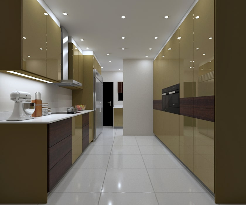 LUXURY KITCHEN - Gold Gloss Cabinets by Linken Designs Modern Silver/Gold