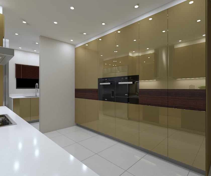 LUXURY KITCHEN- the gold wall:  Built-in kitchens by Linken Designs