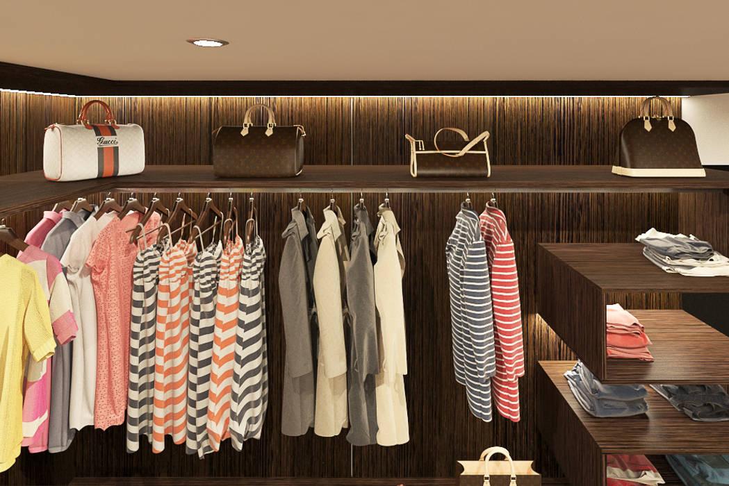 WALK-IN CLOSET Modern Bedroom by Linken Designs Modern Wood Wood effect