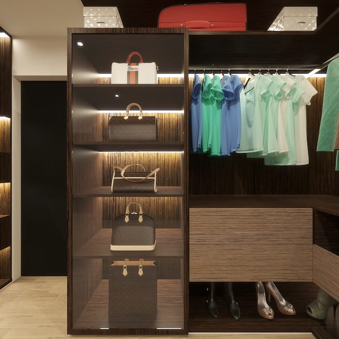 WALK-IN CLOSET (BAG DISPLAY UNIT DESIGN ADD ON) Modern Bedroom by Linken Designs Modern Wood Wood effect