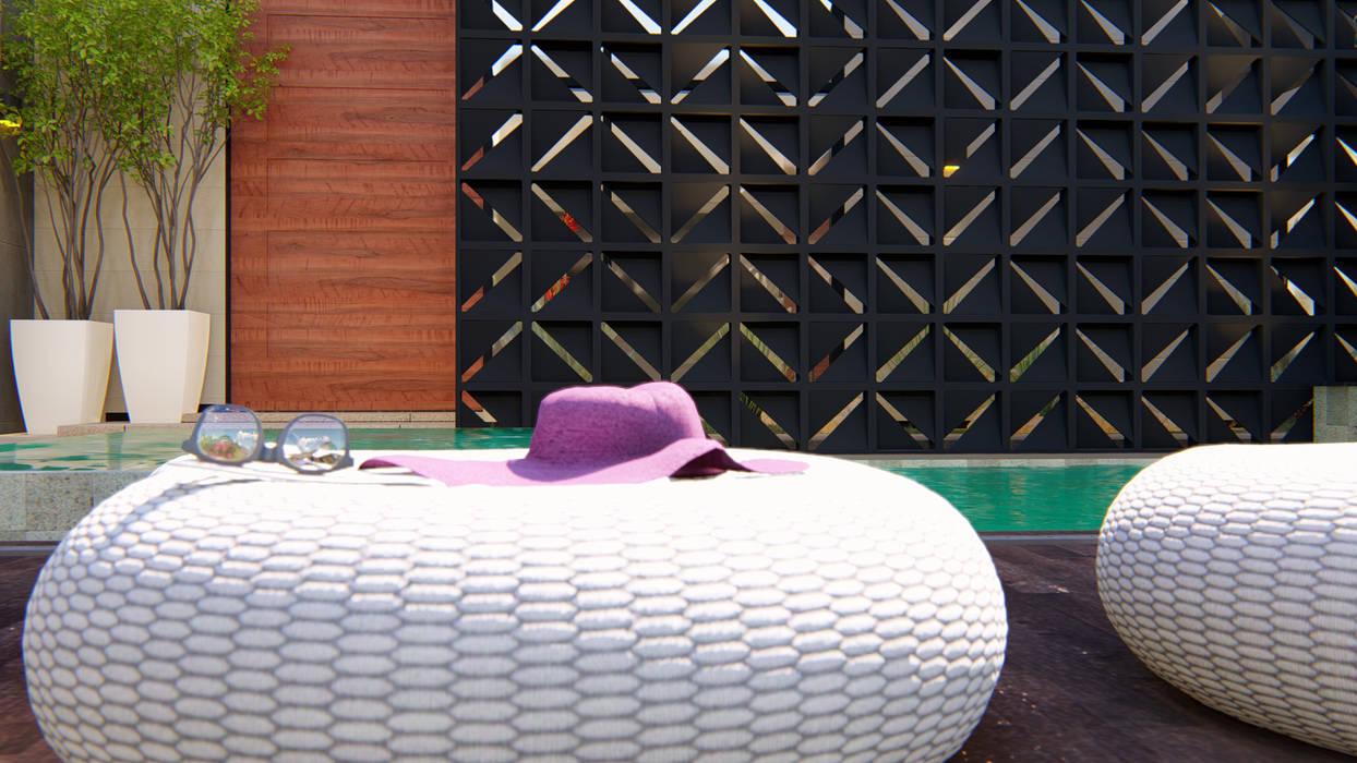 Piscina e Cobogós por IEZ Design Moderno Tijolo