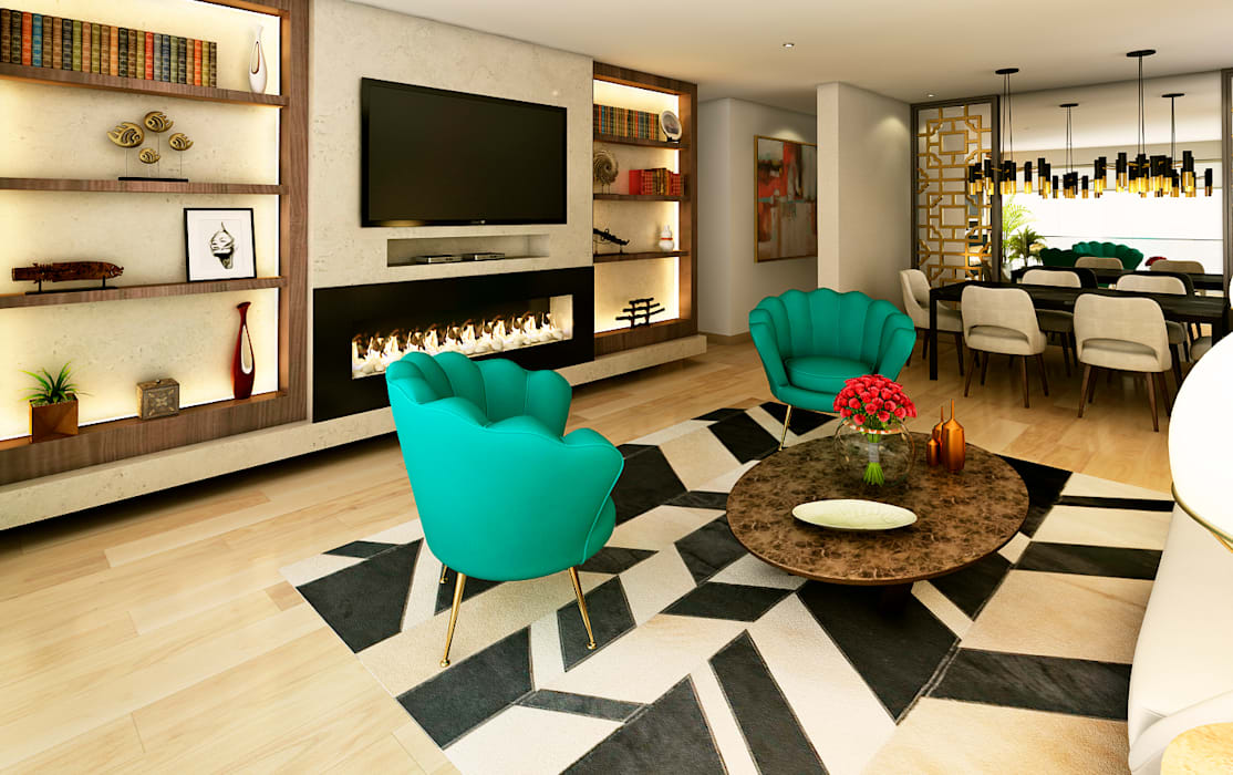 Modern style media rooms by Luis Escobar Interiorismo Modern