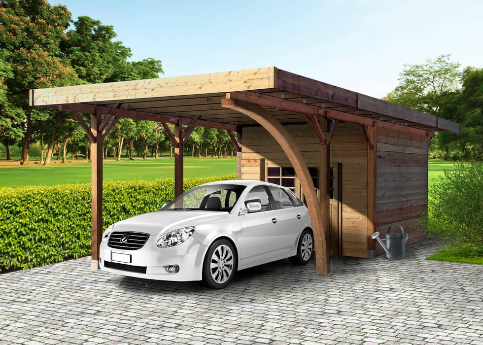 Carport + Ripostiglio in legno IMPREGNATO 706 x 406 cm: Garage/Rimessa in stile  di ONLYWOOD