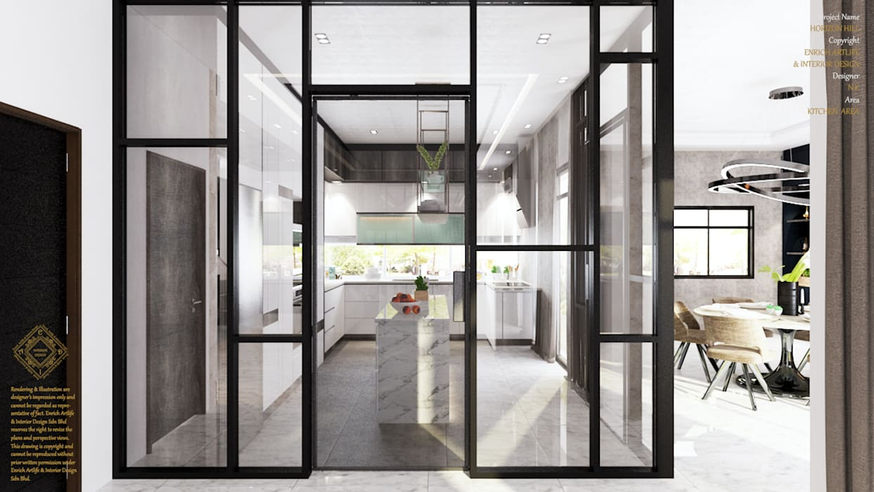 Semi Detached House—horizon hill, Johor Bahru,Malaysia:  Built-in kitchens by Enrich Artlife & Interior Design Sdn Bhd, Modern