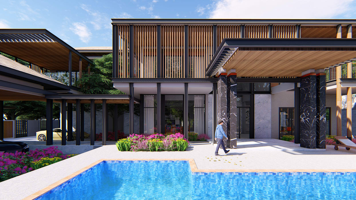 Casas unifamilares de estilo  de GRID ARCHITECT THAILAND, Tropical Hormigón