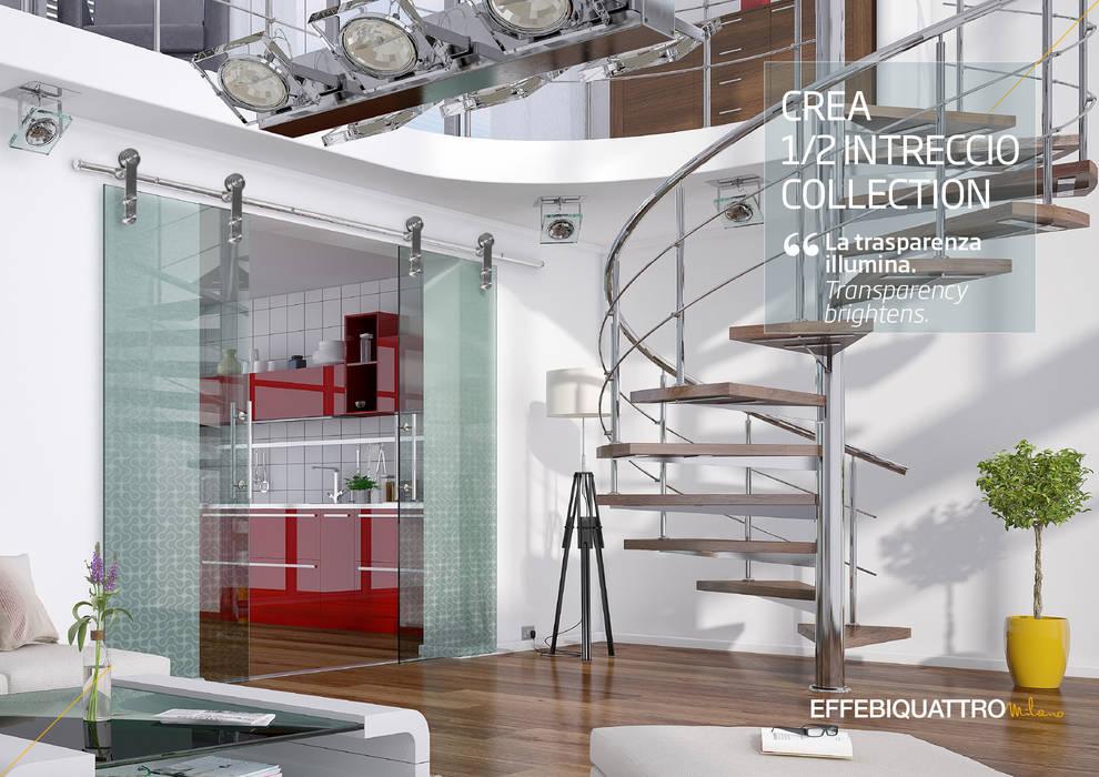 Porta Crea: Porte di vetro in stile  di Effebiquattro S.p.A.