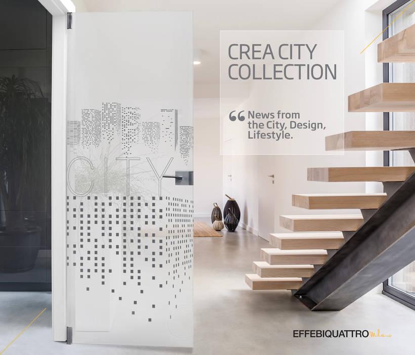 Crea City con Cristallo Satinato: Porte in stile  di Effebiquattro S.p.A.