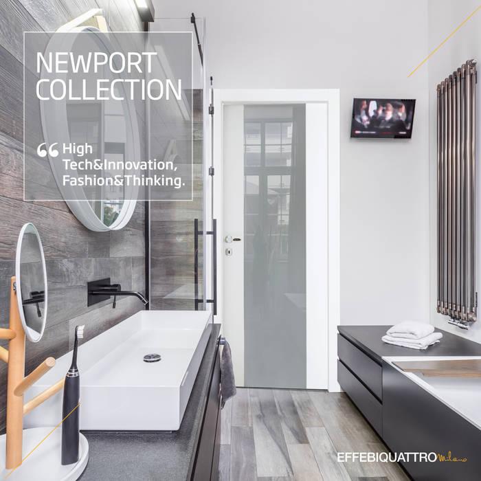 Porta Newport Glass Bianco: Porte in stile  di Effebiquattro S.p.A.