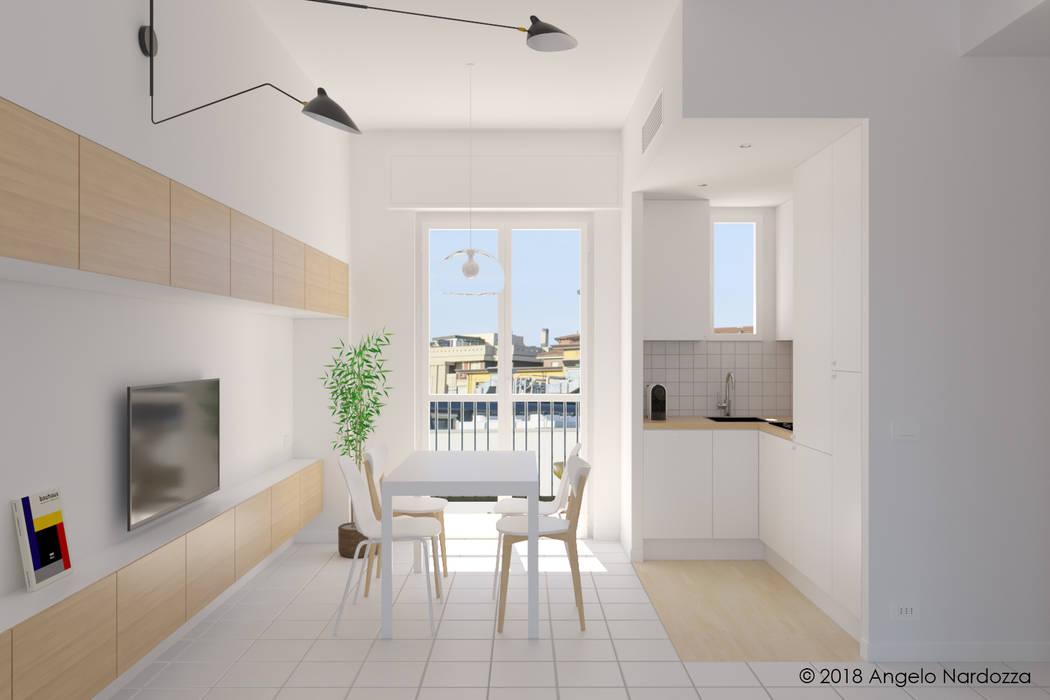 """Appartamento """"easy"""" a Milano, living-cucina-pranzo: Cucina attrezzata in stile  di Angelo Nardozza Architetto"""